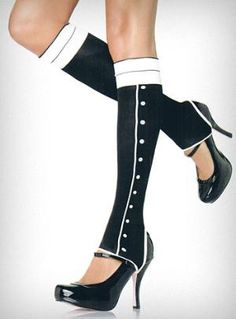 Tuxedo Spat Stirrup Leg Warmers:  Love the idea but that girl needs some meat on her bones!  I think these will look really hot on a more voluptuous woman, personally.