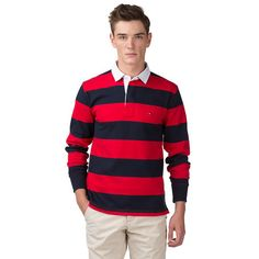 This regular-fit rugby shirt combines authentic looks with casual style. Trendy block stripes throughout. Tommy Hilfiger flag on the chest. 100% cotton offers a comfortable feel. Accent trim inside the placket. Uneven vented hem.Our model is 1.86m and is wearing a size M Tommy Hilfiger rugby shirt.