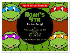 TMNT Teenage Mutant Ninja Turtles Invitation Birthday Party