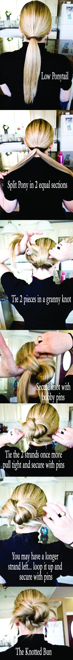 knot bun - step by step.