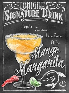 Signature Drink Signs Chalkboard style Prints for by RockinChalk Bar Drinks, Yummy Drinks, Alcoholic Drinks, Beverages, Chalk It Up, Chalk Art, Milk Shakes, Menu Restaurant, Chalkboard Lettering