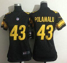 Nike Pittsburgh Steelers Jersey #43 Troy Polamalu Yellow Number Black Game Jerseys