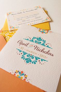 Modern Mexican Tile Multi-fold Wedding Invitation with Custom Envelope Liner and Reply Card