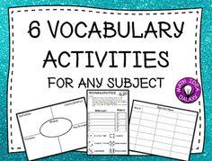 6 Vocabulary Activities for Any Subject Vocabulary Practice, Vocabulary Activities, Vocabulary Words, Math Classroom, Classroom Activities, Fun Activities, Vocabulary Graphic Organizer, Math Writing, Math Talk