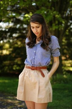 classics // daily uniform --- blue gingham shirt + brown belt + neutral flared short skirt
