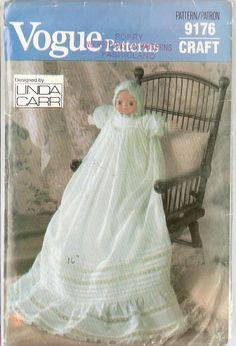 Vogue 9176 sewing pattern doll clothes pattern Bonnet Christening Gown 16 inch doll Craft Pattern Linda Carr designer