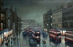 Steven Scholes/ London road, Manchester,1953 Edwardian Architecture, Art After Dark, Art Competitions, Local History, British Isles, City Life, Landscape Photos, Stevia, Old Houses