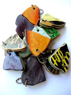 key chains made from recycled skateboards