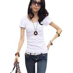 Allegra K Woman Round Neck Ruched Bubble Short Sleeves Shirt Top White XS Allegra K. $7.38