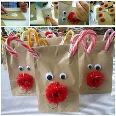 Christmas treat bags for school reindeer treat bags