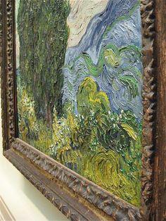 This texture is a part of the drama, motion, and emotion of Van Gogh's artistic genius. Artist Van Gogh, Van Gogh Art, Art Van, Vincent Van Gogh, Painting Inspiration, Art Inspo, Desenhos Van Gogh, Sculpture Textile, Van Gogh Paintings