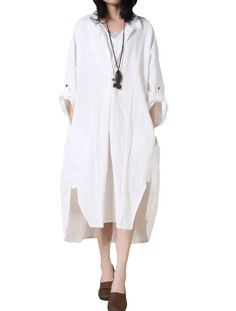 Mordenmiss Women's New Cotton Hi-Low Hem Dresses with Pockets (White) at Amazon Women's Clothing store: