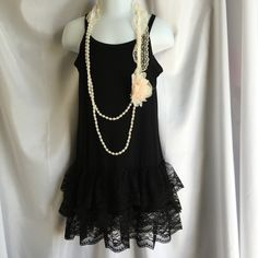 Girls Black Cami with Lace Bottom