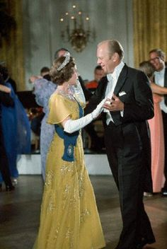 President Ford dances with Queen Elizabeth at a White House State dinner on July 1976