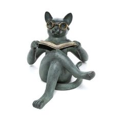 Reading cat statue for your garden.