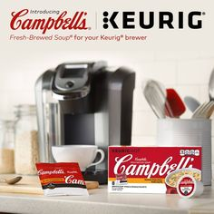 Campbell's Fresh-Brewed now available in pods for your hot taste. Keurig convenience, in two classic flavors: Homestyle Chicken and Southwest Style. Making soup is as simple as Keurig Station, Keurig Recipes, But First Coffee, Southwest Style, Chicken Soup, Drip Coffee Maker, Beverages, Drinks, Brewing