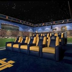 "I'm pinning this ""Notre Dame Home Theater"" not because I like it, but to have a football themed cover photo for the board. That said, however, I do confess that I love this ceiling for a media room!!"
