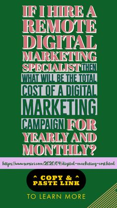 If you hire a remote digital marketing specialist at $1,500.00 then the projected total of Digital Marketing cost per month will be $18,526.95 and the one-year of digital marketing campaign costs will reach up to $222,323.4 includes 12 months of digital ads cost = $120,000‬. #digitalmarketing #digitalmarketingpricing #digitalmarketingcost #marketingdigital #marketingdigitalcost #seo #smm #smo #ppc #contentmarketing #contentbuilding #marketingstrategy #digitalmarketingstrategy
