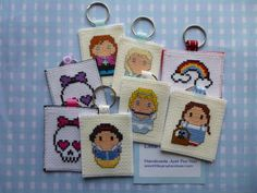 Mini peeps keyrings - lots of designs available just £2 each plus postage from www.littleginghambear.com Gingham, Peeps, Cross Stitch, Just For You, Bear, Personalized Items, Mini, Handmade, Design