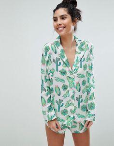 ASOS | ASOS DESIGN Cactus 100% Modal Traditional Shirt & Short Pajama Set