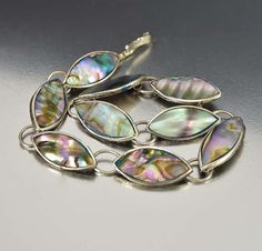 Vintage Abalone Taxco Mexican Sterling Silver Bracelet