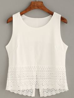 - Top crochet tank – blanco-Spanish SheIn(Sheinside) Sitio Móvil Top crochet tank – blanco-Spanish SheIn(Sheinside) Sitio Móvil Source by ughtsi - Street Style Outfits, Mode Outfits, Trendy Outfits, Fashion Outfits, Crochet Top Outfit, Crochet Tank, Diy Clothes, Sewing Clothes, Blouse Designs