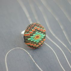 Southwest Diamond cross stitch adjustable ring by TheWerkShoppe, $32.00
