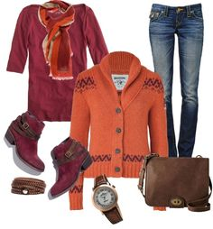 """Orange And Maroon"" by juli67 on Polyvore"