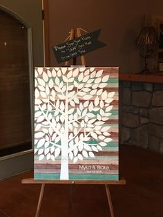 Teal Wood Wedding Tree Canvas | Guest Book Alternative | 125 Signature Spaces | Rustic Wedding | Customer Photo | Wedding Color - Teal | peachwik.com