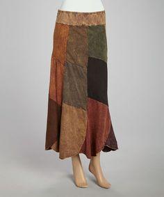 Brown Patchwork Skirt - Women by Jayli #zulily #zulilyfinds