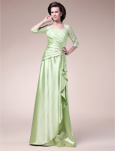 A-line Square Floor-length Stretch Satin Mother of the Bride Dress
