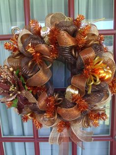 Fall CopperChoclate Deco Mesh Door Wreath by CrazyboutDeco on Etsy, $79.00