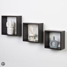 Duraline Kubussen Wanddecoratie - Set van 3 - Ebbenhout