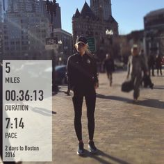 5 miles on the streets of Boston!!! I completely loved watching other running crazies creep out of their hotels to sneak in a run. We all just kind of found a route randomly along the streets- dedicated!  I'm like hello my name is Amanda and I totally get your brand of crazy  -In other news if you are from Portland tune into your local news  I was interviewed on my way out of Run Base on the marathon excitement!  If you are in Boston soak it in! If you are traveling I pray for your safety…