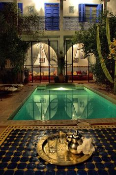 Riad des Cigognes, Marrakech in Morocco Porches, Dec Piscina, Resorts, Exterior Design, Interior And Exterior, The Places Youll Go, Places To Go, Outdoor Spaces, Indoor Outdoor