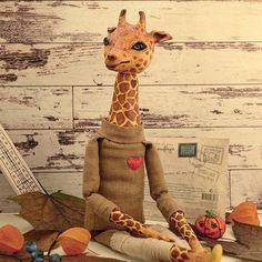 Giraffe one of a kind toy toy handmade collectible toy