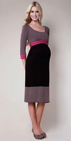 Colour Block Maternity Dress (Truffle)