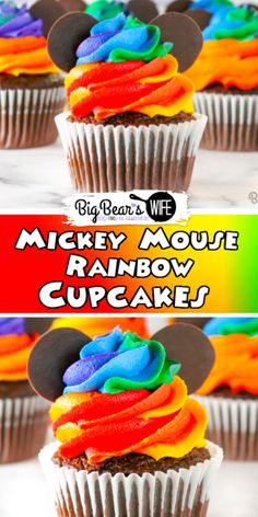 Combine the magic of Disney with the beauty of a rainbow with these adorable Homemade Mickey Mouse Rainbow Cupcakes! Inspired by the Disney World Cupcakes Rainbow Frosting, Rainbow Cupcakes, Themed Cupcakes, Yummy Cupcakes, Mickey Mouse Cupcakes, Mickey Cakes, Cupcake Recipes, Cupcake Cakes, Dessert Recipes