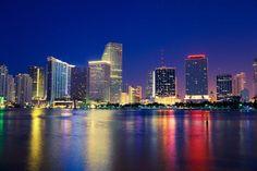 Miami, Florida - Miami Skyline At Night - Photography (Art Prints, Wood & Metal Signs, Canva Miami Skyline, New York Skyline, Modern Photography, Night Photography, Best Places In Florida, Free Canvas, Stock Art, Antique Maps, Miami Florida