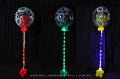 Beautiful Helium Filled Bubbles all Sparkling with Sparkle Ribbon Lites® Led Balloons, Balloon Lights, Led String Lights, Battery Operated Led Lights, Bouquets, Centerpieces, Bubbles, Ribbon, Sparkle