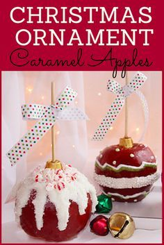Christmas Ornament Caramel Apples with Homemade Caramel Christmas Snacks, Christmas Goodies, Christmas Candy, Holiday Treats, Xmas, Christmas Ornaments, Christmas Desserts, Christmas Baking, Cakepops