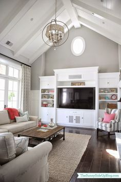 Sunny Side Up (family room decor update - pops of coral!)