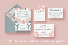Posted by @newkoko2020 Watercolour Wedding Suite by Knotted Design on @creativemarket