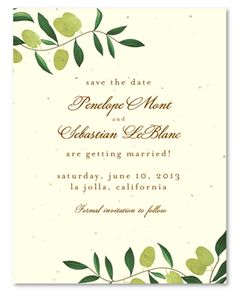 Elegant Save the Date - Olive de Toscane (seeded paper) I'd do this for invites