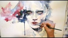 Portrait watercolor - Speed painting by Agnes Cecile. One of the most mesmerising things to watch! Watercolor Face, Watercolor Video, Watercolour Tutorials, Watercolor Portraits, Watercolor Paintings, Abstract Watercolor, Art And Illustration, Watercolor Illustration, Painting Videos