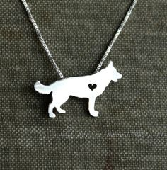 OMG, I freaking just died!!! (wishing scott had pinterest so he could see this as a hint, he keeps asking me about christmas....)    German Shepherd necklace sterling silver tiny by justplainsimple,