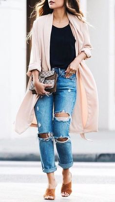 #fall #outfits · Pink Coat // Destroyed Jeans // Black Top //sandals