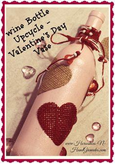 Easy #DIY Wine Bottle Upcycle - #ValentinesDay Vase / Candle Holder. #crafts