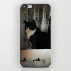 One Cat in the window iPhone Skin by victoriaherrera   Society6