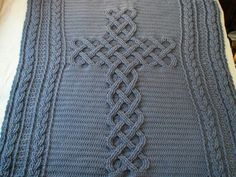 Chunky Celtic Cross cable afghan / throw / blanket (pattern available) Crochet Cable, Quick Crochet, Crochet Cross, Chunky Crochet, Chunky Yarn, Irish Crochet, Cable Knitting, Crochet Beanie, Filet Crochet